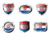 Croatia set shiny buttons and shields of flag with metal frame - — Stock Vector