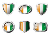 Cote voire set shiny buttons and shields of flag with metal fram — Stock Vector