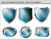 Vector illustration set. Shiny and glossy shield and button with — Stock Vector
