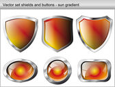 Vector illustration set. Shiny and glossy shield and button with — Stockvektor