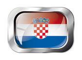 Croatia shiny button flag vector illustration. Isolated abstract — Stock Vector