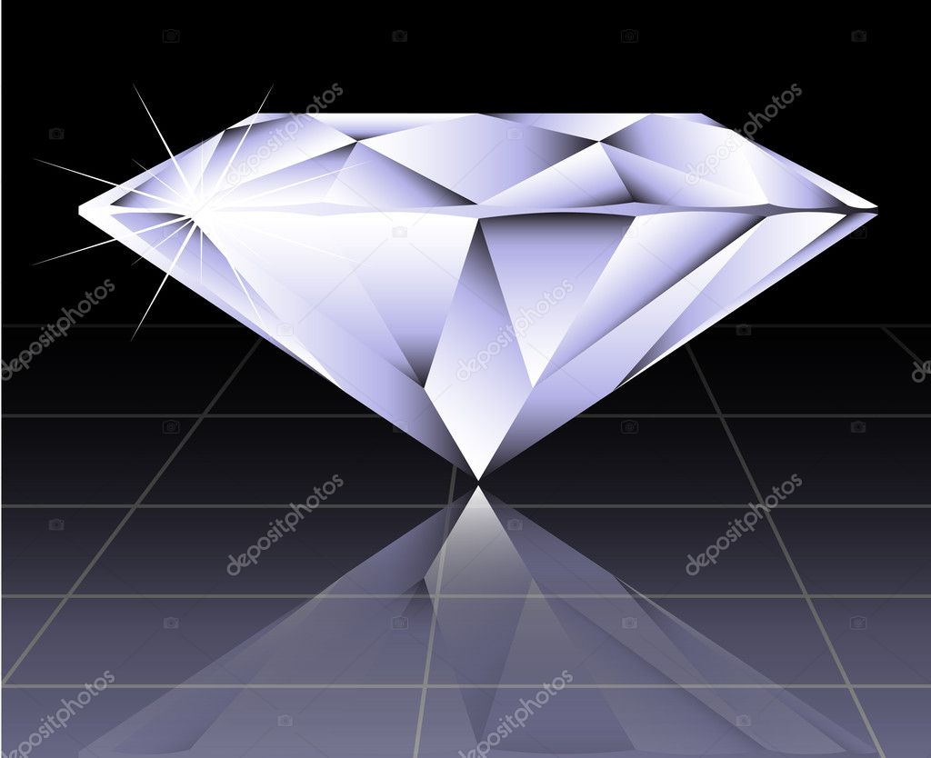 Vector round brilliant cut diamond perspective — Stock Vector #7367740