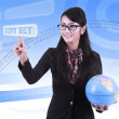 Asian Business woman with binary code background — Stock Photo