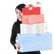 Businesswoman with presents — Stock Photo