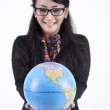 Stock Photo: Smart Business Woman With a Globe