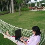Freedom of Working Anywhere — Stock Photo