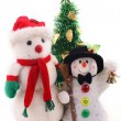 Stock Photo: Two snowmen & Christmas Tree