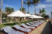 Tipik görünümü bir tropikal plaj — Stok fotoğraf