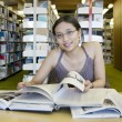 Studying in the Library — Stockfoto