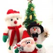 Snowmen, Santa Claus & Christmas Tree — 图库照片