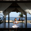 Yoga in a Gazebo — Stock Photo