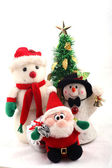 Snowmen, Santa Claus & Christmas Tree — Stock Photo