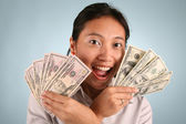 Woman with Money — Stock Photo