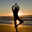 Activity: Yoga at sunrise — Stockfoto