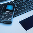 Laptop with Mobile Phone — Stock Photo