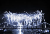 Fireworks at Story Bridge — Stock Photo