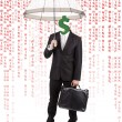 Royalty-Free Stock Photo: Human Head with Dollar Symbol Carrying Umbrella