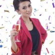 Caucasian Woman with Glass of Champagne — Stock Photo #7779457