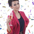 Caucasian Woman with Glass of Champagne — Stock Photo