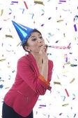 Beatufitul Woman Celebrating New Year — Stock Photo