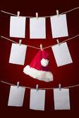 Santa Hat with empty notes — Stock Photo