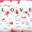 Valentine Photo Concept: Love made of scrabble letters — Stock Photo
