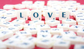 Valentine Photo Concept: Love made of scrabble letters — Foto de Stock