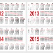 Calendar 2012-1215 year — Vector de stock