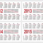 カレンダー 2012年-1215 年 — ストックベクタ