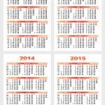 Calendar 2012-1215 year — Stock Vector