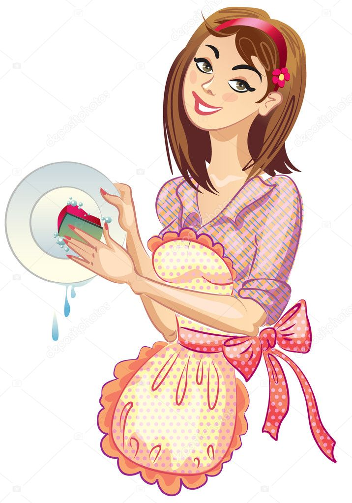 Housewife washing the dishes, an apron, on a white background. Vector illustration — Stock Vector #7346593