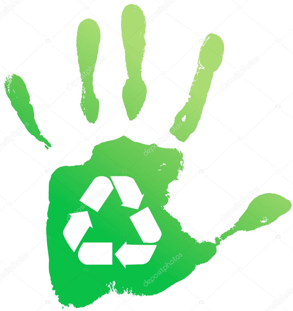 Green handprint with the sign of processing on a white background. Vector illustration — Stock Vector #7368981