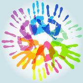 Colorful handprint — Stock Vector