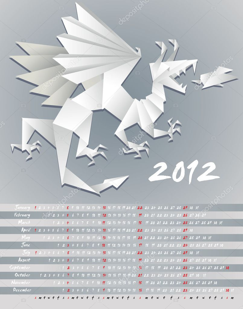 Year dragon, calendar 2012, origami, vector illustration — Stock Vector #7864339