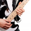 Guitarist playing on electric guitar isolated on white backgroun — Stock Photo #7449376