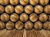 Wall of wooden barrels — 图库照片