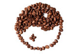 Brown and white symbol made of coffee beans on a white backgroun — Stock Photo