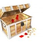 Opened treasure chest isolated on white background — Stock Photo
