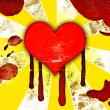 Stock Photo: Red hearts with drops of blood