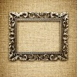 Golden frame on a canvas background — Foto de Stock