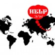 Help japan on the world map - Stock Photo