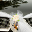 Flower on a wedding car — Stock Photo