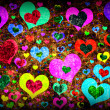 Stock Photo: Grunge background with colorful hearts