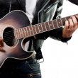 Guitarist playing on acoustic guitar isolated on white backgroun — Stock Photo