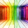 Stock Photo: Colorful spectral wooden room