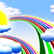 Sun clouds rainbow — Stockfoto