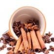 Cinnamon in cofee cup — Stock Photo