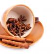 Cinnamon in cofee cup — Stock Photo