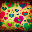 Grunge background with colorful hearts — Stock Photo #7458873