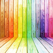 Colorful spectral wooden room — Stock Photo